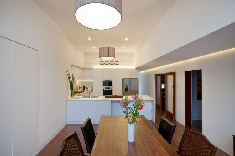 Even the artificial LED lighting at Westbury Crescent Residence is used to dramatic effect including highlighting the connection between old and new