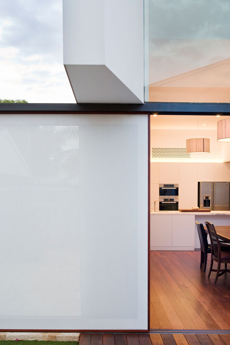 A shade screen can be pulled over the North-facing window shade the living area