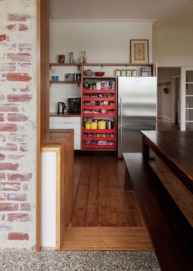 Amy's House kitchen has some unique features like an open pantry using plastic crates