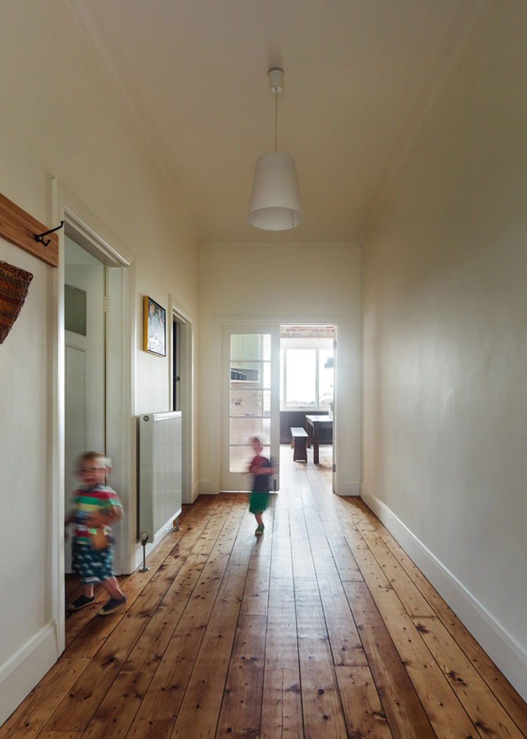 Amy's House has a generous hallway leading the reconfigured living space at the rear
