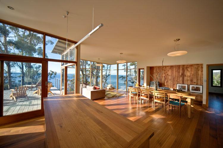 Bruny Shore House living room overlooks the ocean at Bull Bay in Tasmania
