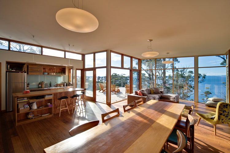 Bruny Shore House dining area and kitchen take in the stunning views
