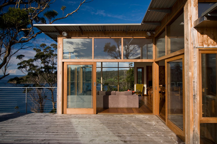 Bruny Shore House deck off the living area