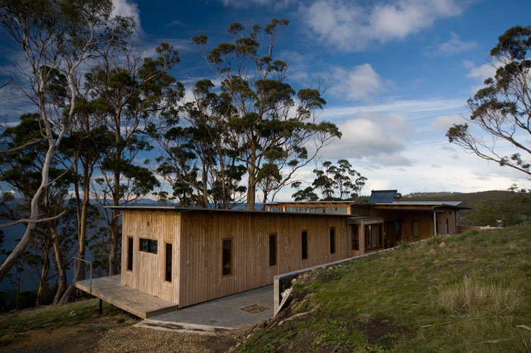 Bruny Shore House is set back into the slope so it can hang out towards the view