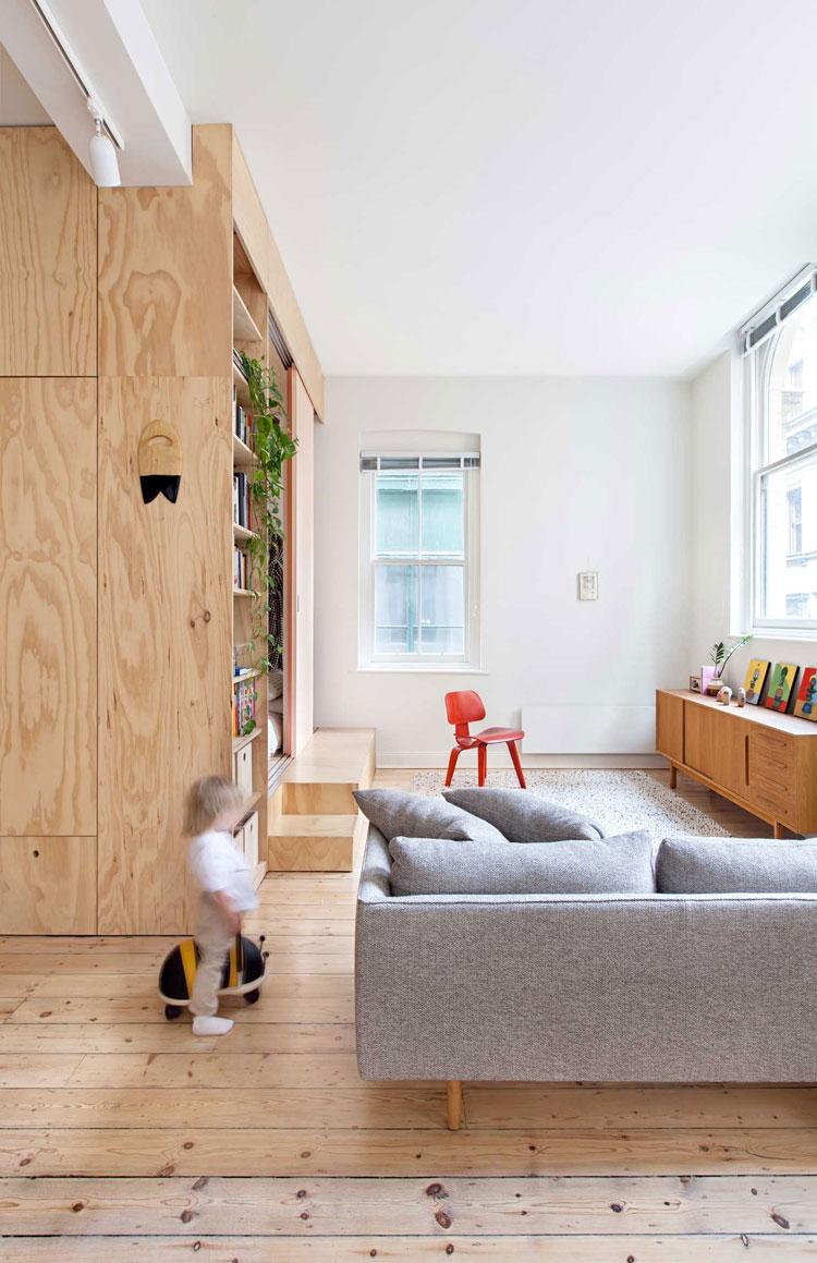 Flinders Lane Space Efficient Apartment living area