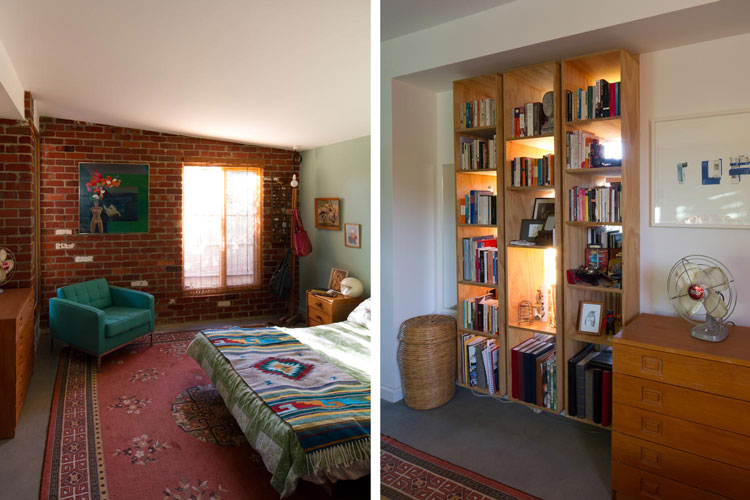 In the bedroom of Florence Street House, the space is separated from the living area by a joinery unit full of books