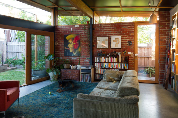 Recycled materials and second-hand furniture give Florence Street House an eclectic feel