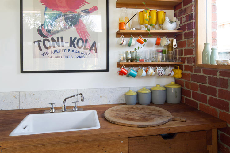 The kitchen bench in Florence Street House is an old workbench