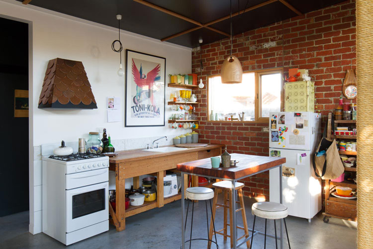 The kitchen at Florence Street House is eclectic, but homely
