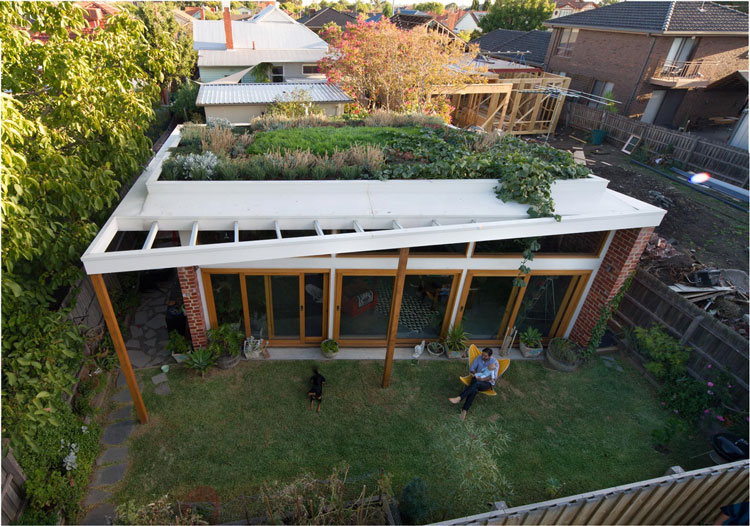 Viewed from above, Florence Street House has a green roof, sunny North-facing garden and a bank of North-facing windows
