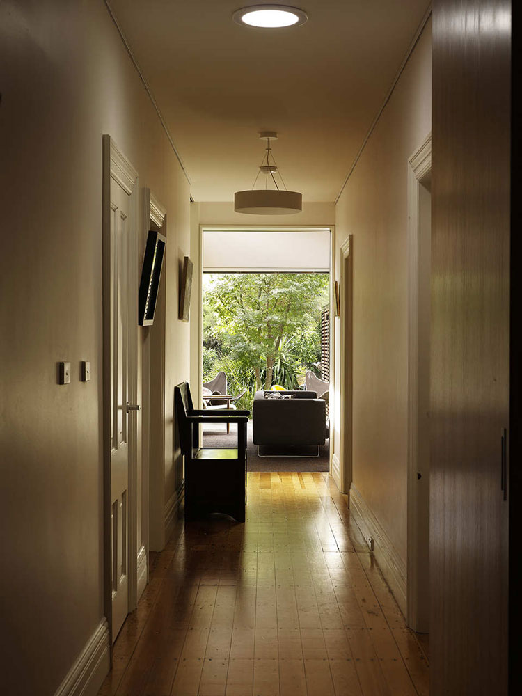 Haberfield House original hallway looking towards the new living area and then into the garden