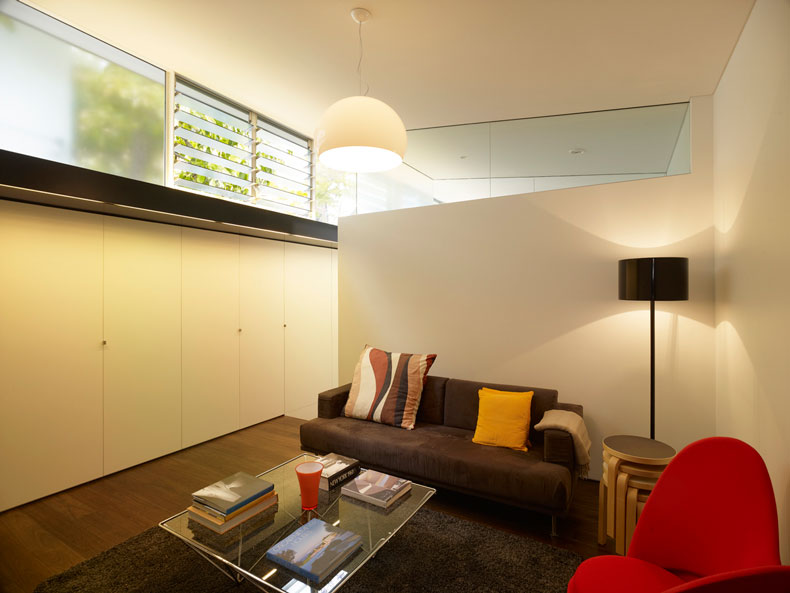 The lounge area at Haines House has some clerestory windows which are louvres and some frosted to help with ventilation and privacy