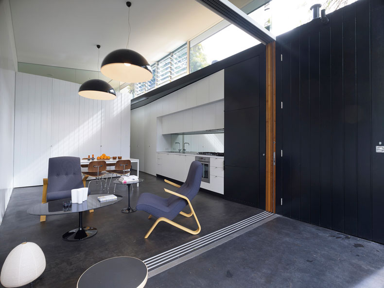 New living area of Haines House receives a lot of natural light from clerestory windows