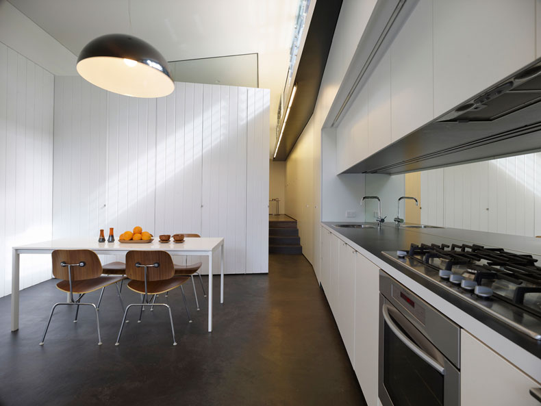 The main living area of Haines House is open plan with a concrete floor for passive solar heating