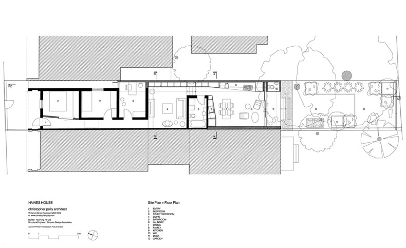 Plan of the Haines House shows the bedrooms at the front, a lounge area, bathroom, then open plan living area opening onto the garden