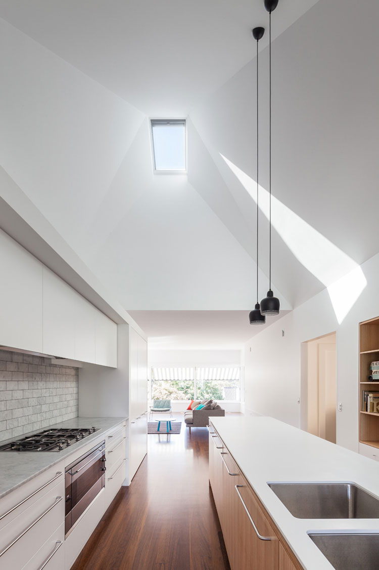 A sculpted ceiling is highlighted by a single north facing skylight which lets light deep into House Chapple
