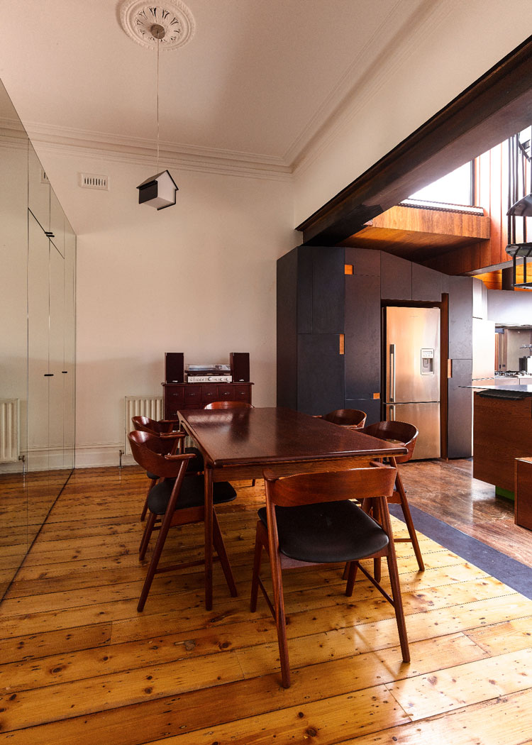 HOUSE House timber interior with steel by Andrew Maynard Architects. Via Lunchbox Architect