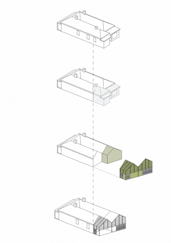 MAKE Architecture's diagram shows how House Reduction cut off the rear of the house and replaced it with a reconfigured space