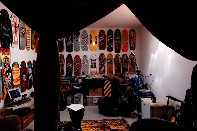 Islington House studio is filled with skateboards and musical equipment