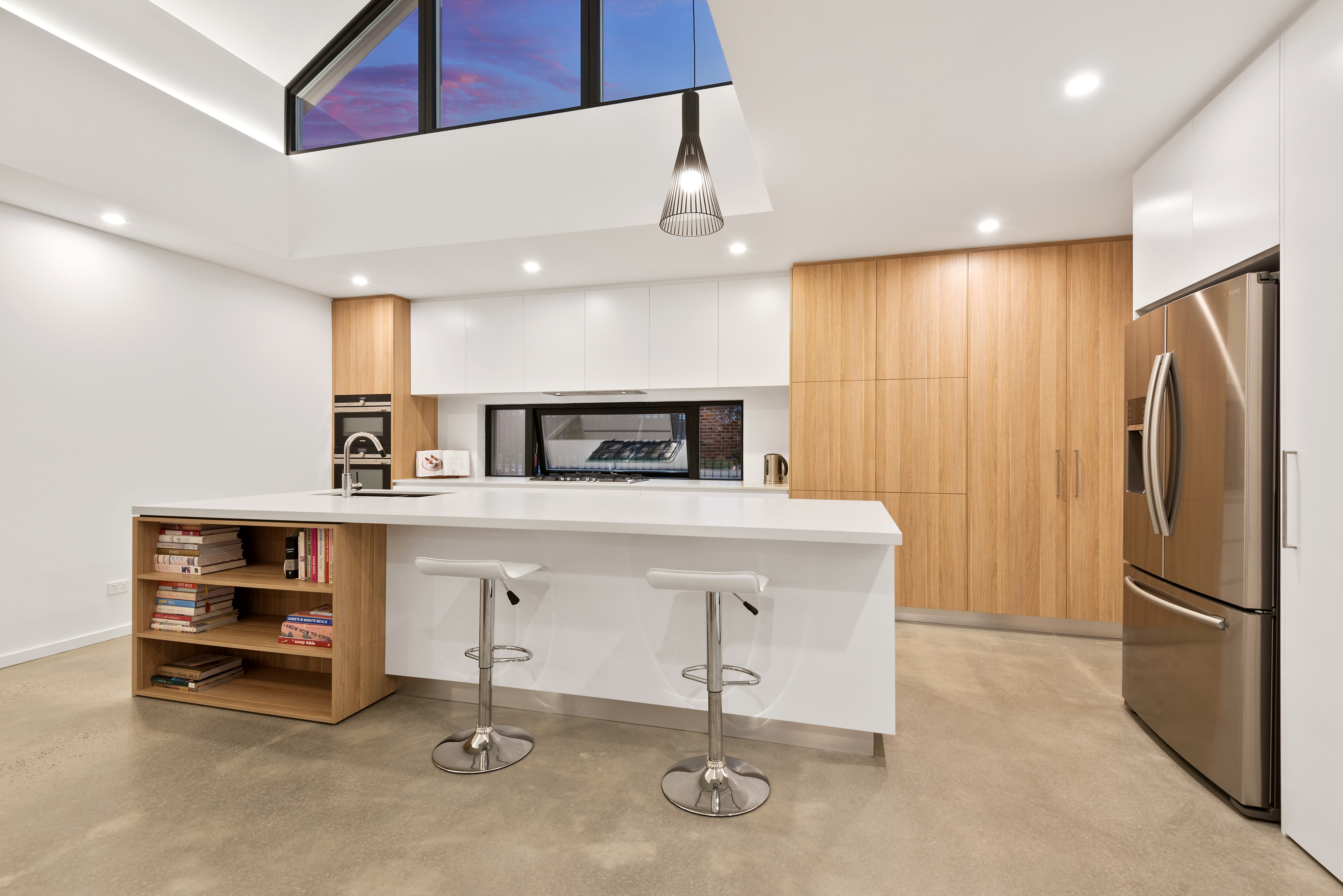 A Unique Vaulted Ceiling and Clerestory Windows Bring in the Light