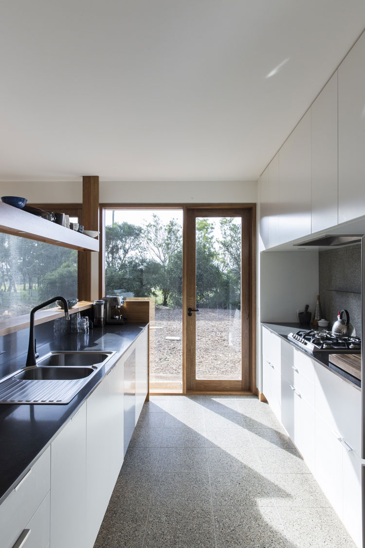 Leura Lane House kitchen with natural sunlight and terrazzo tiles