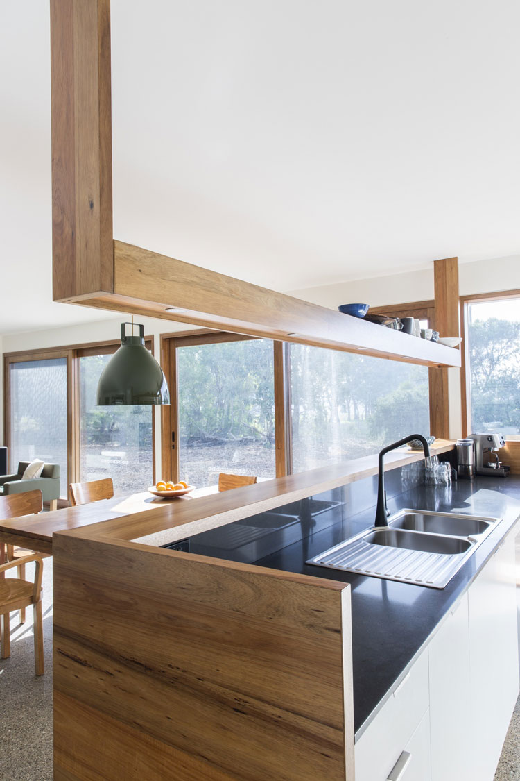 Leura Lane House kitchen overlooking the living and dining areas