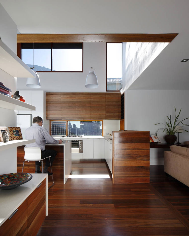 Mountford Road a study desk overlooks the new double-height living pod