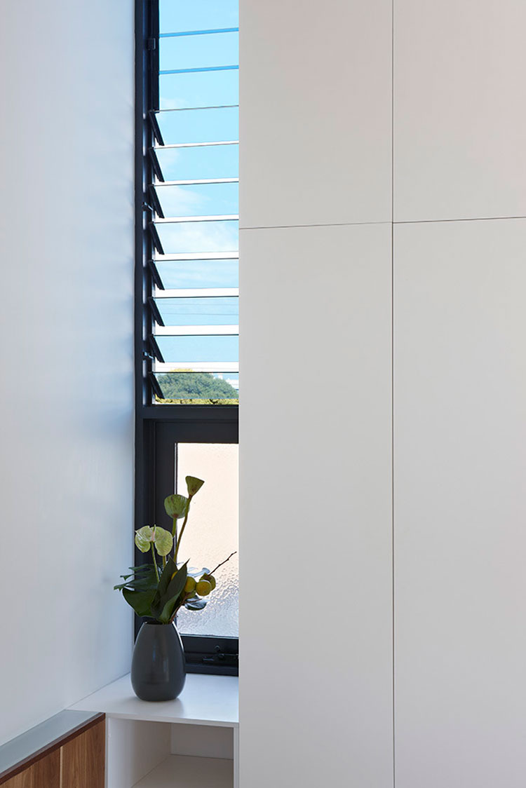 North Fitzroy House has louvre windows which help with ventilation, creating a stack effect in the double height space