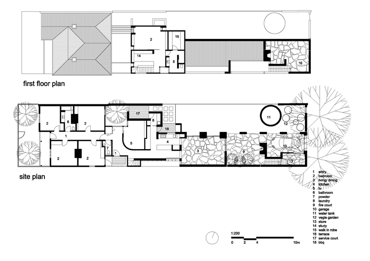 Plan of the Park Lane House shows the extent of the renovation and the way the architects have dealt with the exposure of the site by creating an internal courtyard