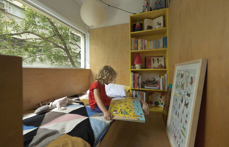 A small children's bedroom has been created where the original Potts Point Apartment bedroom was, leaving space for a pull-out bed for the parents