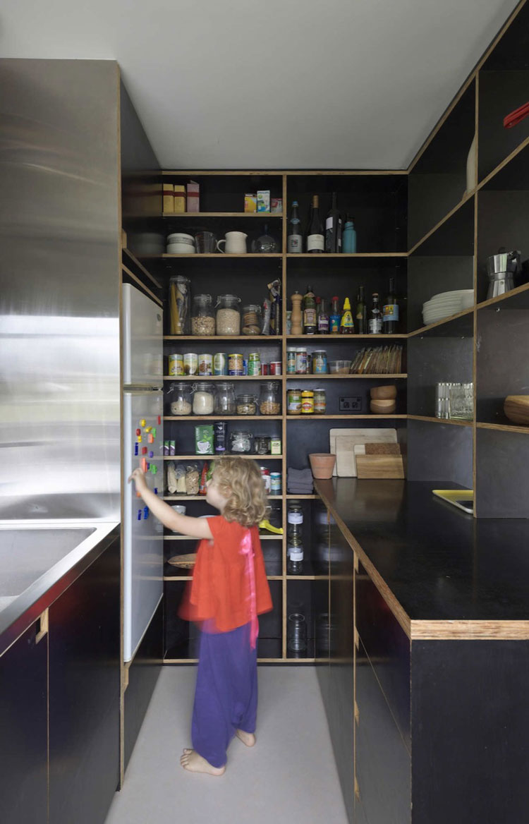 Open storage and black plywood joinery define the Potts Point Apartment kitchen