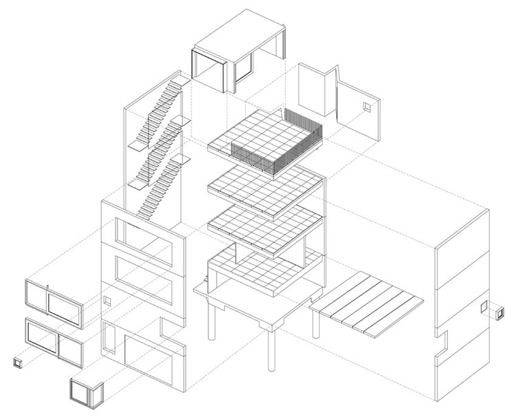 Small House Exploded Axonometric