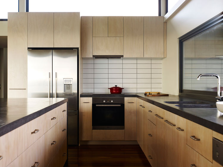Limed Hoop Pine Plywood is used for the Kitchen Joinery at Sugar Gum House