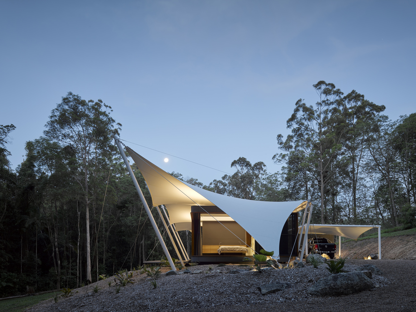 A Unique Family Home Covered Entirely By a Tent Structure