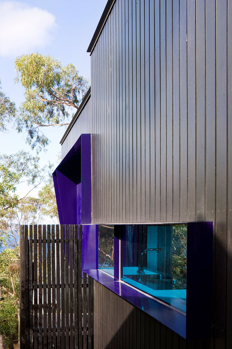 A splash of purple around the window of Treehouse contrasts with the surrounding eucalyptus trees and ocean beyond