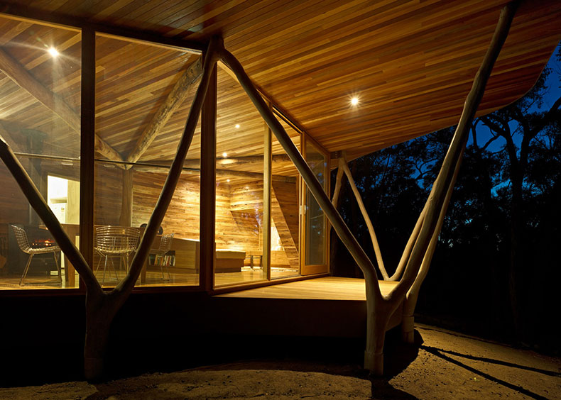 Closeup view of Trunk House from outside at night with warm timber interior