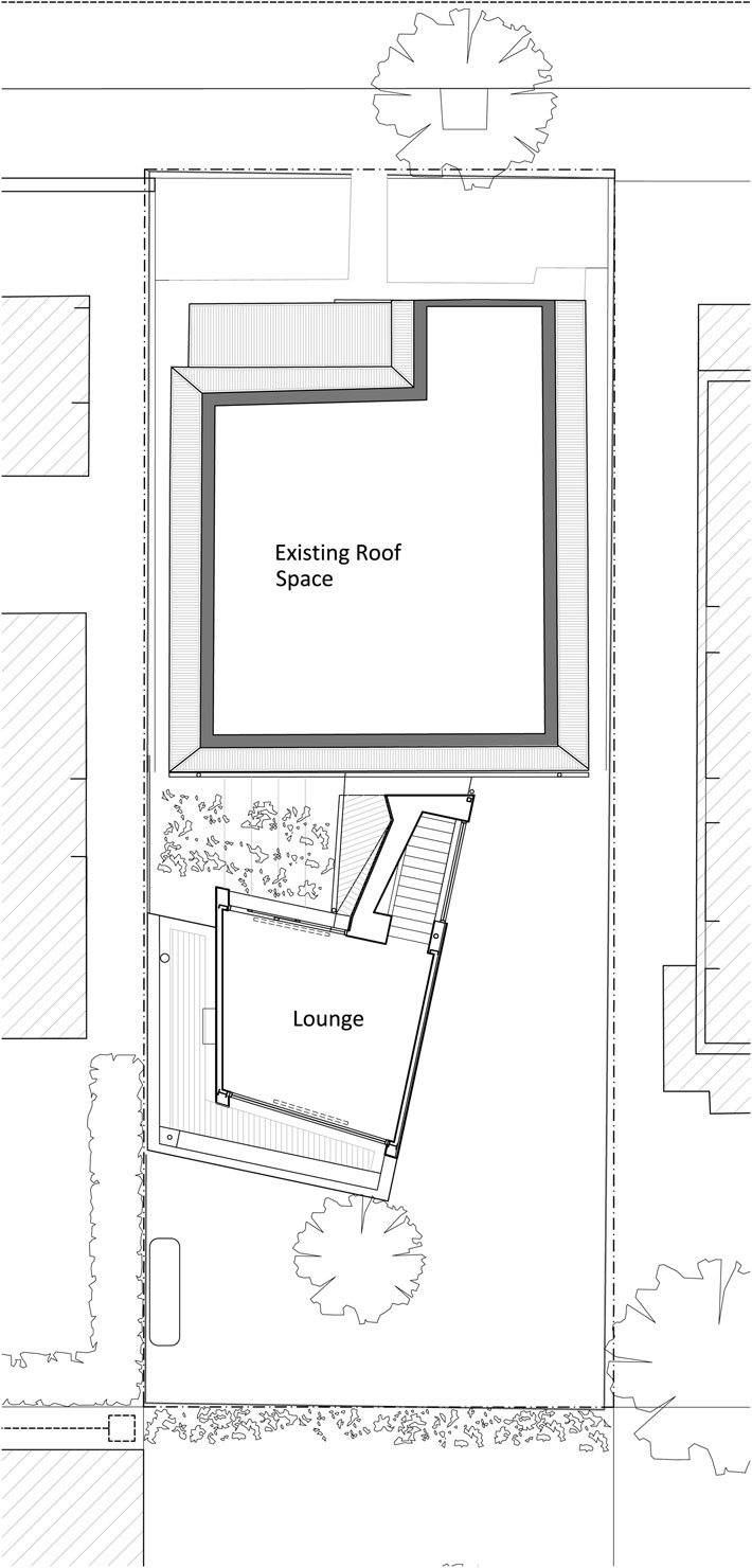 Yarra Street House: First floor plan showing the existing roof space and the new upstairs lounge