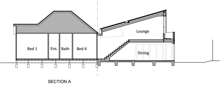 Yarra Street House: Section A showing dining area and upstairs lounge