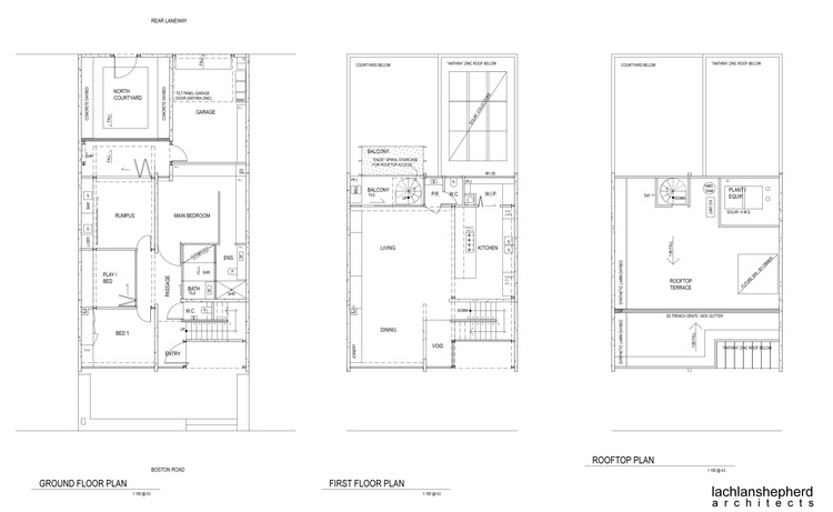 This townhouse on a small block stacks the backyard on the for Townhouse plans for small blocks