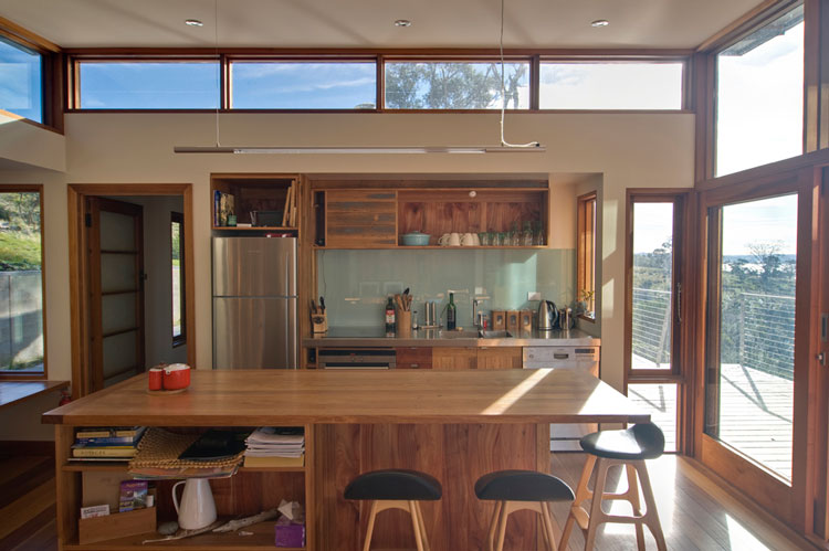 beautiful bruny shore house clerestory windows above the kitchen let in  plentiful natural light with clearstory