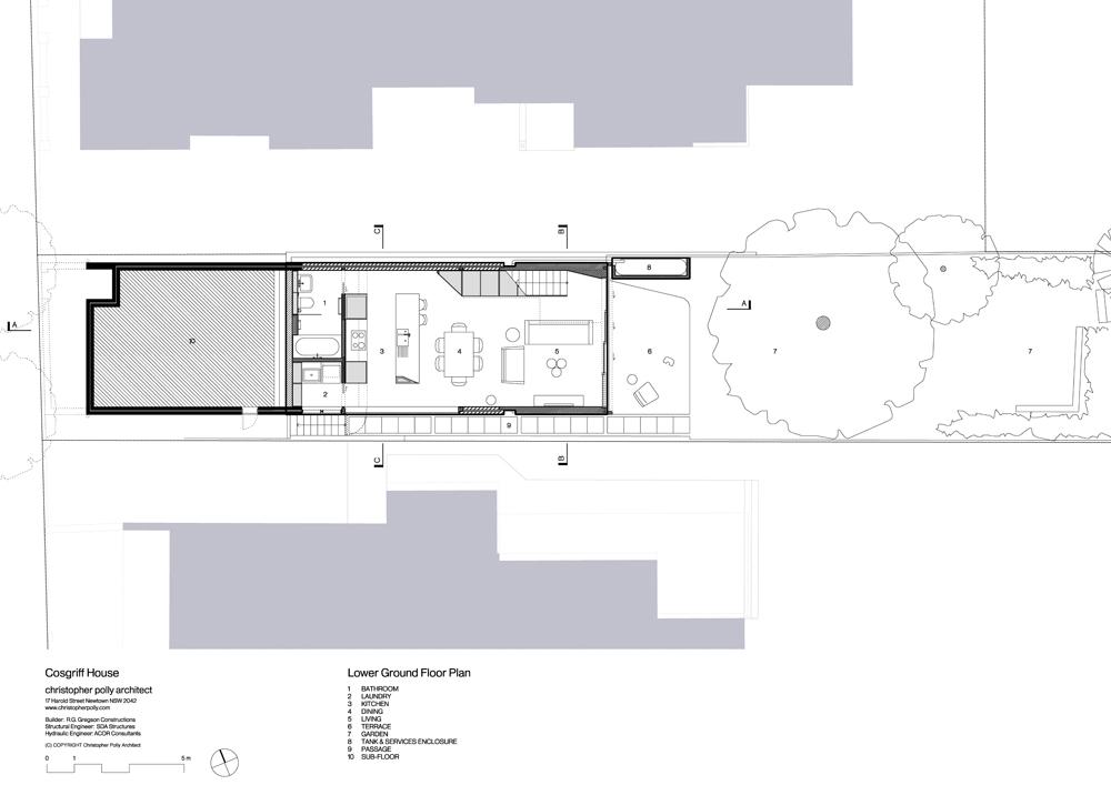 Cosgriff house semi subterranean extension for backyard for Rear access home designs