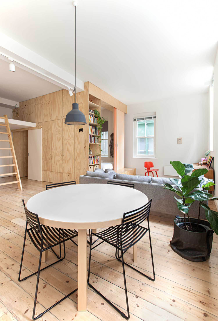 Flinders Lane Space Efficient Apartment living area