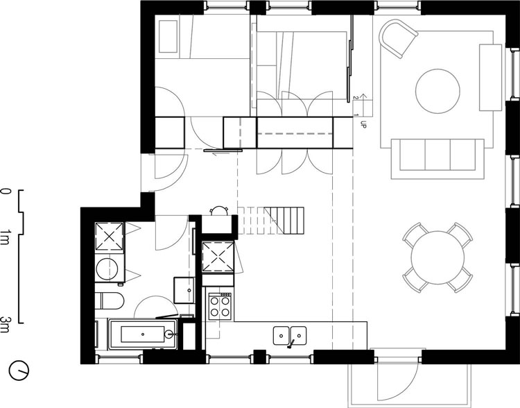 Flinders Lane Space Efficient Apartment Plan