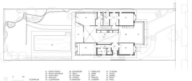 Plan of Chapple House shows the central part of the house which has been opened up to access views and light from front to back