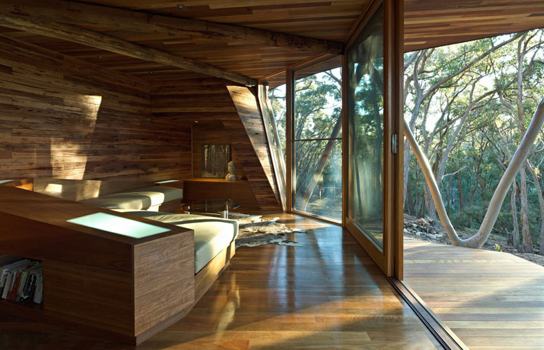Trunk house modern bush house built with trees from site for Bush house designs